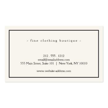 Small Minimalist Luxury Boutique Ivory/black Business Card Back View