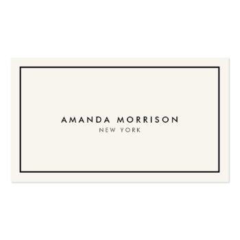 Small Minimalist Luxury Boutique Ivory/black Business Card Front View