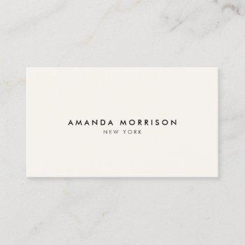 minimalist luxury boutique ivory business card