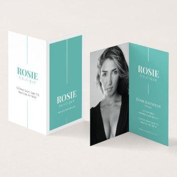 minimalist luxury makeup / hair artist teal folded business card