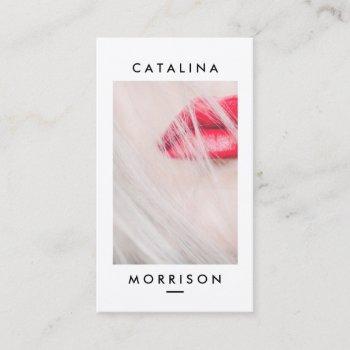 minimalist makeup artist red lips photo business card