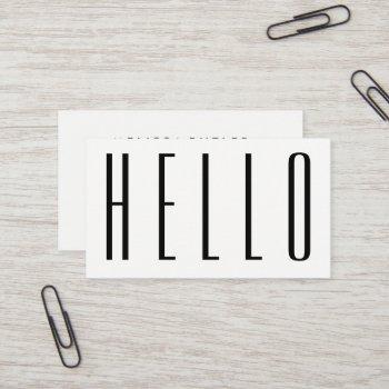 minimalist modern bold hello business card