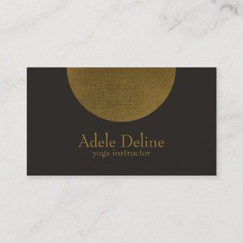 minimalist modern copper dark grey yoga instructor business card
