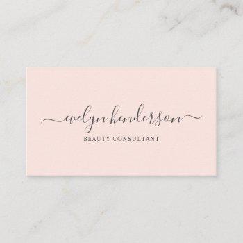 minimalist modern handwritten calligraphy blush business card
