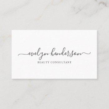 minimalist modern handwritten calligraphy business card