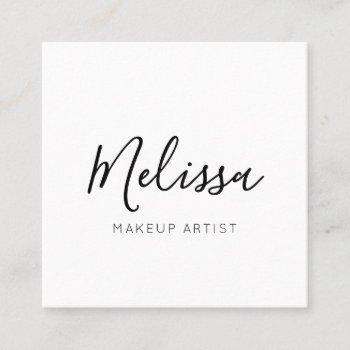 minimalist modern handwritten calligraphy white square business card