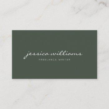 minimalist modern handwritten professional green business card