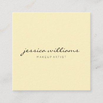 minimalist modern professional pastel yellow square business card