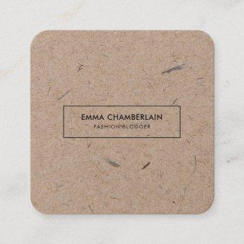 minimalist modern rustic kraft paper square business card