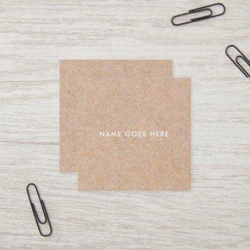 minimalist modern rustic kraft square businesscard square business card