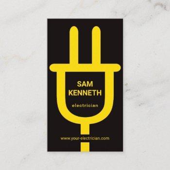 minimalist oversize yellow power plug electrician business card