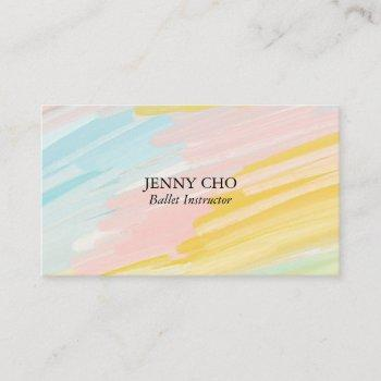 minimalist pastel painting textured business card
