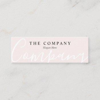 minimalist pastel pink typo mini business card