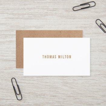 minimalist printed kraft white consultant business card