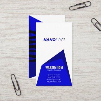 minimalist professional corporate unique blue business card