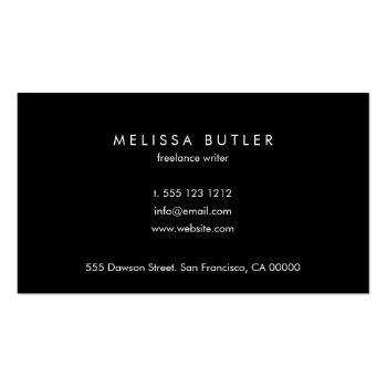 Small Minimalist Professional Elegant Black And White Business Card Back View
