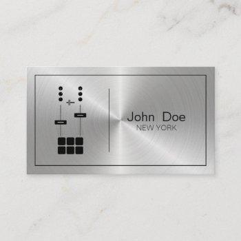 minimalist professional faux metallic dj business card