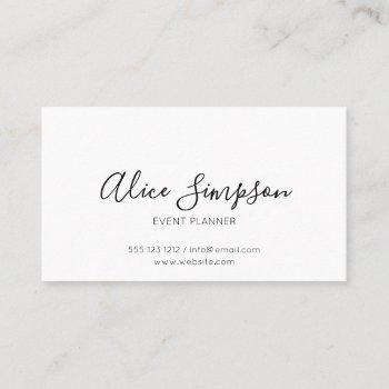 minimalist professional handwritten font white business card