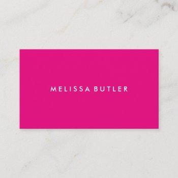 minimalist professional hot pink business card