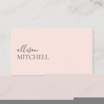 minimalist professional modern blush pink business card