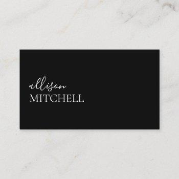 minimalist professional modern elegant black business card