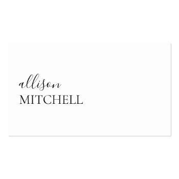 Small Minimalist Professional Modern Elegant Script Business Card Front View