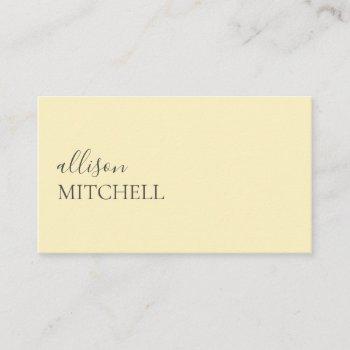 minimalist professional modern pastel yellow business card