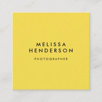 minimalist professional modern yellow square business card