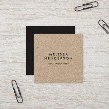 minimalist rustic kraft professional square business card