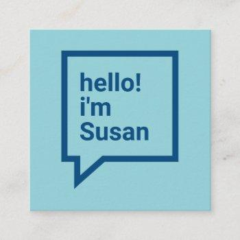 minimalist sky blue bold hello speech bubble square business card