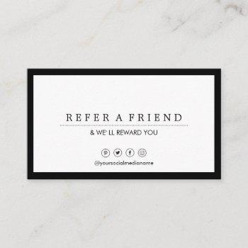 minimalist social media luxe black&white referral business card