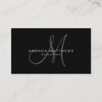minimalist stylish black gray monogram name business card