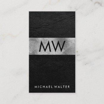 minimalist two letter monogram faux leather luxe business card