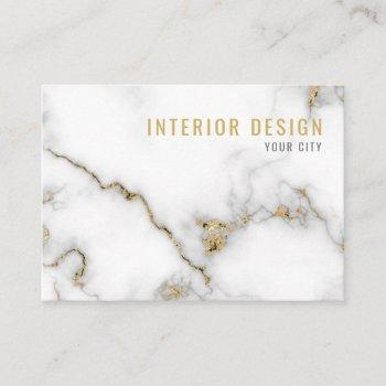 minimalist white and gold marble business card