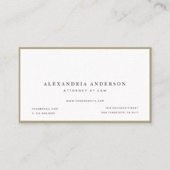 minimalist white lawyer professional business card
