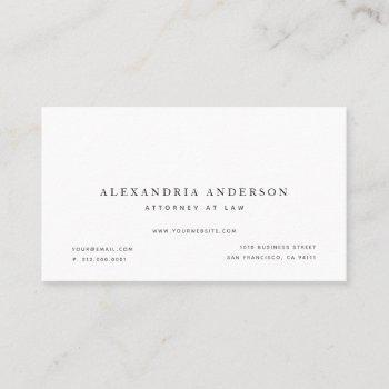 minimalist white lawyer professional business card