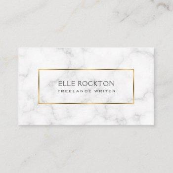 minimalist white marble gold frame business card