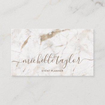 minimalist white marble  gold signature script business card