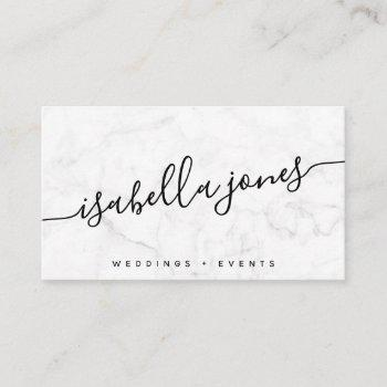 minimalist white marble professional luxe modern business card