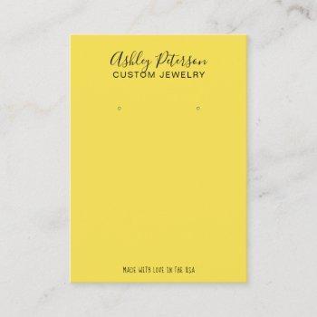 minimalist yellow  jewelry earring display business card
