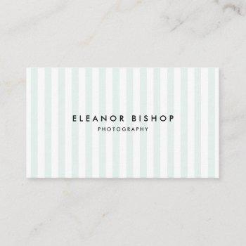 mint and white pinstripes pattern modern business card