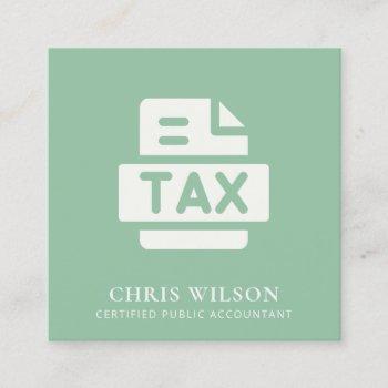 mint green modern tax return agent preparer icon square business card