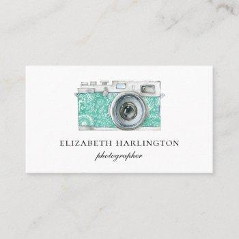 mint photo camera card. simple modern photography business card