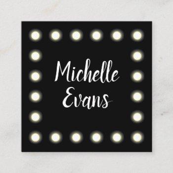 mirror lights glam make up artist square business card
