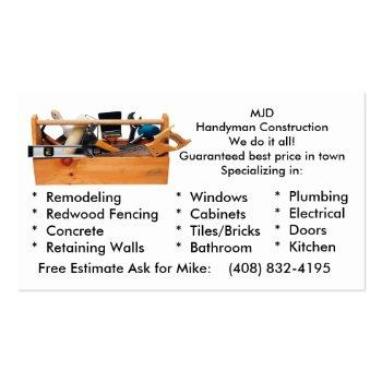 Small Mjd Image 2, Mjdhandyman Constructionwe Do It A... Business Card Front View