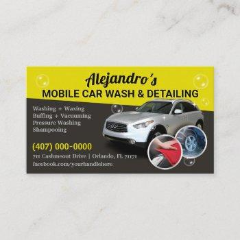 mobile car wash & detailing - pressure washing tem business card
