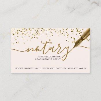 mobile notary loan chic gold foil typography business card