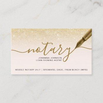 mobile notary loan chic gold glitter typography business card