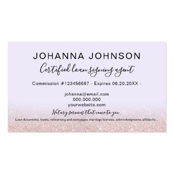 Small Mobile Notary Loan Rose Gold Glitter Lavender Business Card Back View