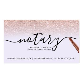 Small Mobile Notary Loan Rose Gold Glitter Lavender Business Card Front View